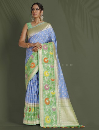 Light blue pure banarasi silk reception wear saree