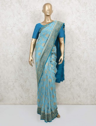 Light blue pure banarasi silk saree for wedding