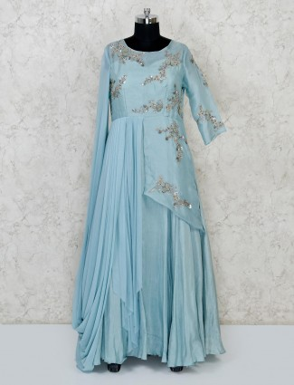 Light blue raw silk designer anarkali suit