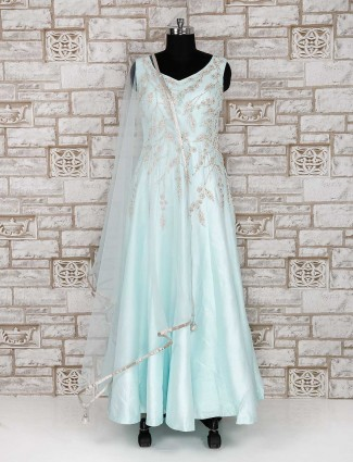 Light blue silk fabric anarkali suit for party function