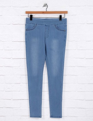 Light blue simple jeggings in cotton