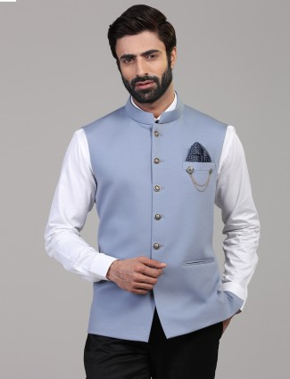 Light blue solid kintted waistcoat