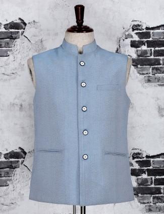 Light blue terry rayon fabric waistcoat