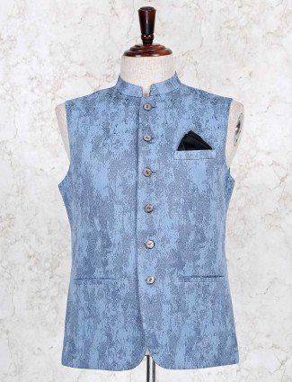Light blue thread woven silk waistcoat