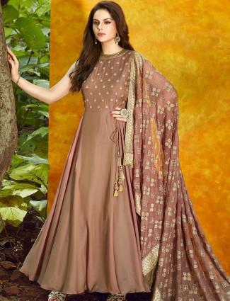 Light brown color satin silk anarkali suit