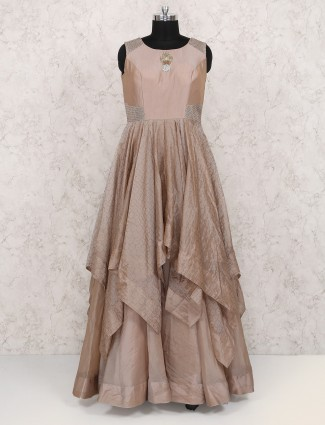 Light brown color silk fabric gown