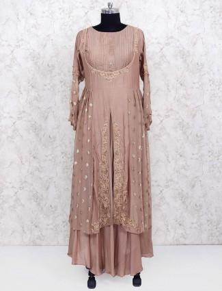 Light brown cotton silk designer salwar suit