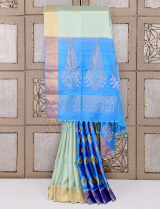 Light green and blue patola saree