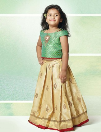 Light green and cream girls lehenga choli