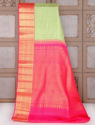 Light green and magenta bridal saree