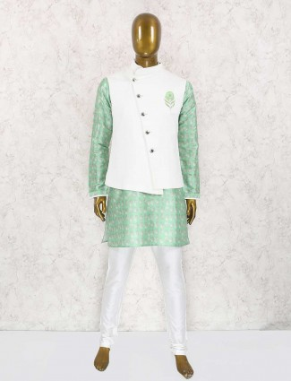 Light green and white waistcoat set