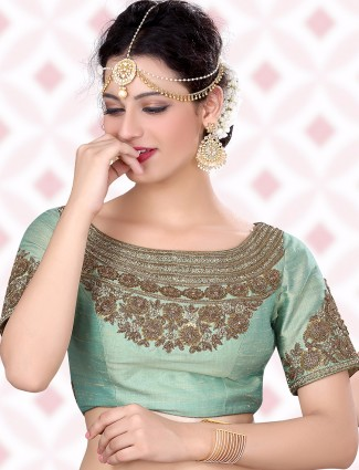 Light green awesome raw silk ready made blouse