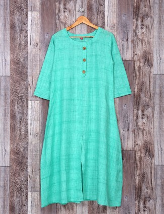 Light green color cotton kurti for festive function