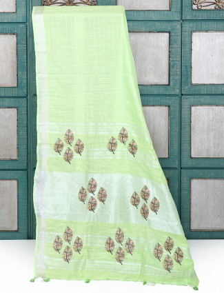 Light green color cotton silk festive saree