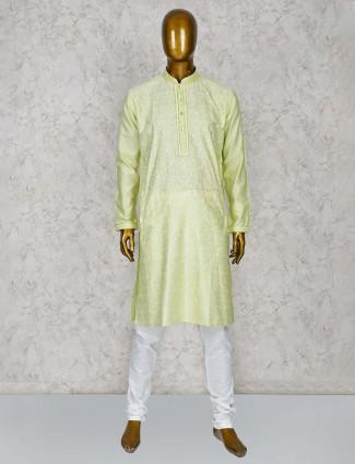 Light green color cotton silk stand collar kurta suit