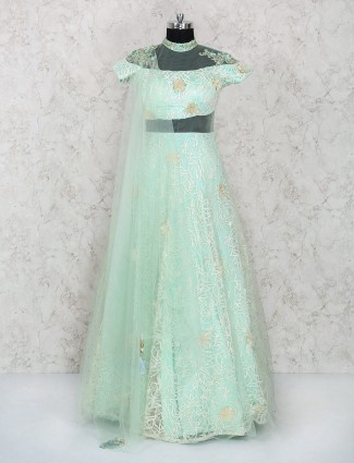 Light green color indo western style gown