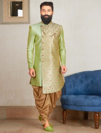 Light green color dhoti kurta suit for party function