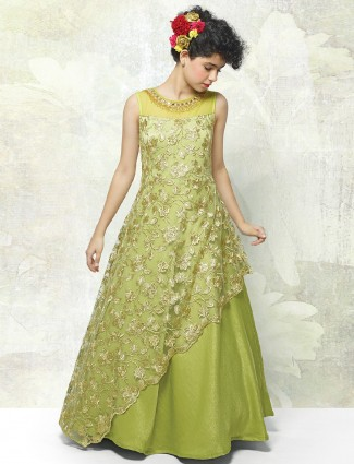 Light green color net fabic gown