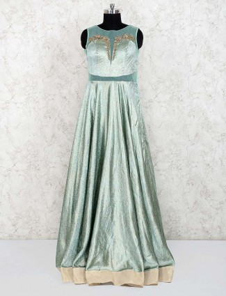 Light green color silk designer gown