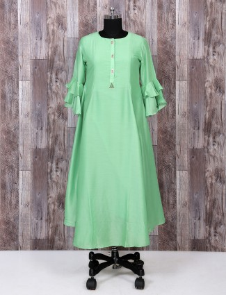 Light green color silk kurti