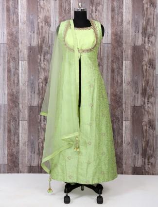 Light green color silk salwar suit