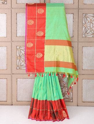 Light green color wedding wear silk fabric saree