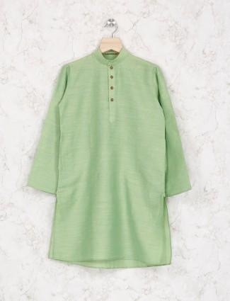 Light green cotton fabric kurta suit