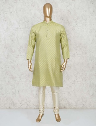 Light green cotton festive wear mens kurta suit