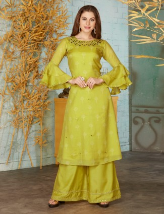 Light green cotton punjabi palazzo suit for festive