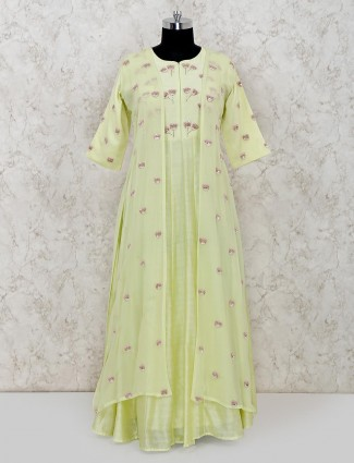 Light green cotton silk anarkali suit for wedding