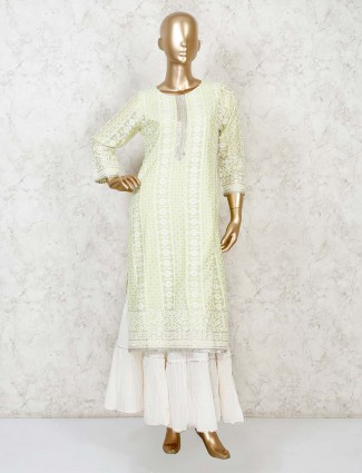 Light green cotton silk designer punjabi sharara suit