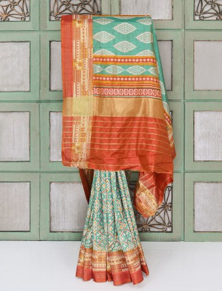 Light green cotton silk fabric festive wear saree