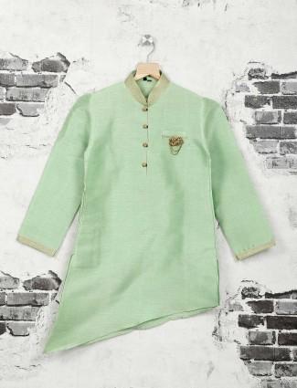 Light green cotton silk kurta suit