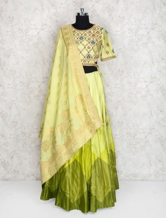 Light green cotton silk lehenga choli