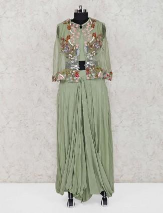 Light green cotton silk lehenga suit in wedding