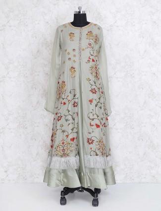 Light green cotton silk long kurti