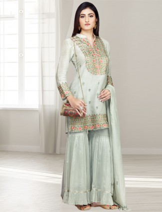 Light green cotton silk punjabi sharara suit
