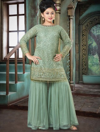 Light green designer punjabi sharara suit