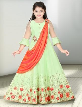 Light green designer raw silk fabric anarkali suit