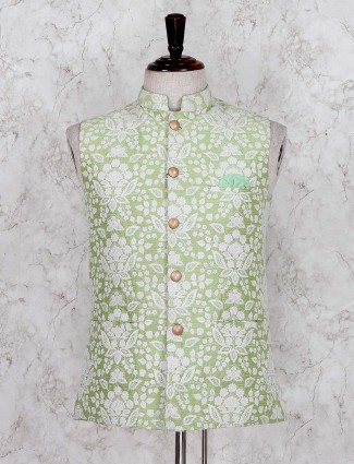 Light green designer silk wedding waistcoat