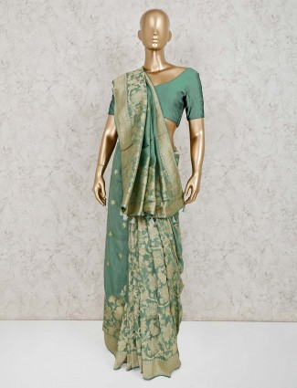 Light green dola silk classic saree