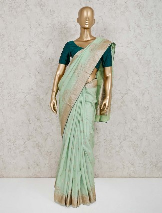 Light green dola silk saree for wedding