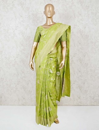 Light green festive function saree in dola silk