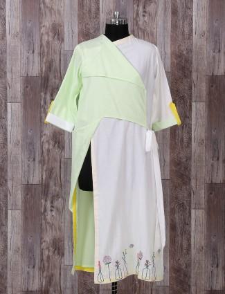 Light green festive silk palazzo suit
