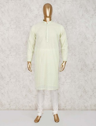 Light green festive wear cotton kurta suit