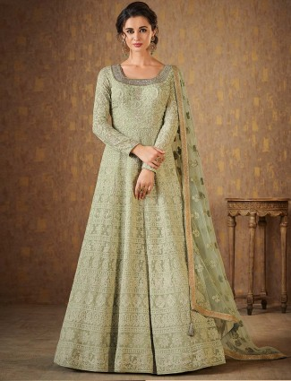 Light green georgette anarkali suit for festive wear