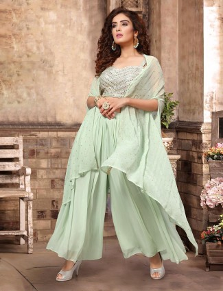 Light green georgette party wear indo western palazzo suit