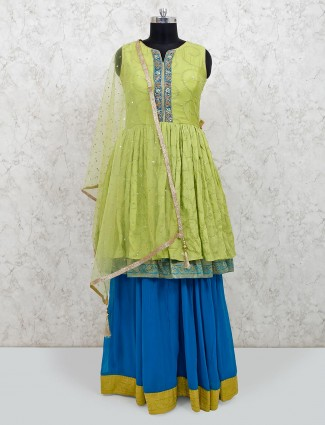 Light green georgette punjabi lehenga suit