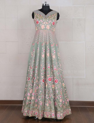 Light green hue cotton silk fabric gown