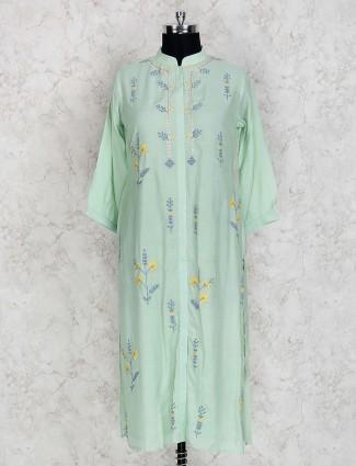 Light green hue cotton silk fesrtive kurti